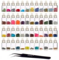 ihocon: SHANY Cosmetics 3D Nail Art Decoration Mini Bottles with Nail Art Tweezer, 48 Count