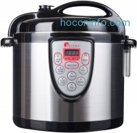 ihocon: Secura 6-in-1 Electric Pressure Cooker 6qt, 18/10 Stainless Steel Cooking Pot, Pressure Cooker, Slow Cooker, Steamer, Rice Cooker, Browning/Sauté, Soup Maker