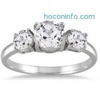 ihocon: 2.25 Carat Three Stone White Topaz Ring in .925 Sterling Silver