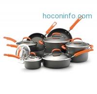 ihocon: Rachael Ray Hard Anodized II Nonstick Dishwasher Safe 14-Piece Cookware Set, Orange