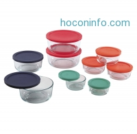 ihocon: Pyrex 1110141 18pc Glass Food Storage with Multi-colored Lids