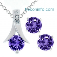 ihocon: 2.25 Ct Round Purple Amethyst .925 Silver Pendant and Earrings Set 18 Chain