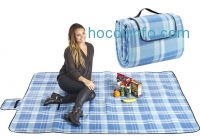 ihocon: Pratico Foldable Extra Large Fleece Picnic Blanket (60 x 80) - Waterproof Cushioned Backing