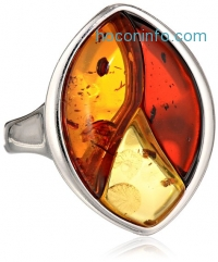 ihocon: Multicolor Amber Sterling Silver Inlay Ring, Size 7