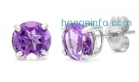 ihocon: 2.00 CTTW Genuine Amethyst Gemstone Stud Earrings
