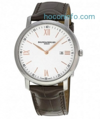 ihocon: Baume and Mercier Classima Silver Dial Brown Leather Men's Watch 10181