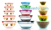 ihocon: 5-Piece Glass Bowl Set with Lids