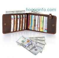 ihocon: Kattee Real Leather Business Credit ID Cards Case Long Wallet