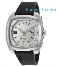 ihocon: Puma PU103081002 Men's Black Rubber Silver-Tone Dial Rectangle Case Watch