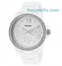 ihocon: FOSSIL AM4494 Women's Cecile White Plastic Silver-Tone Dial White Crystal Encrusted Bezel