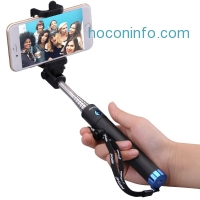 ihocon: Mpow Extendable Selfie Stick with built-in Bluetooth Remote Shutter-Blue