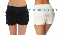 ihocon: Women's Tiered Crochet Shorts
