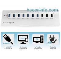ihocon: Coocheer® 10 Ports USB 3.0 Portable Aluminum Hub with Surge Protector 3 USB Charger Ports + 3.3ft USB 3.0 Cable