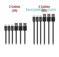 ihocon: Zakix Premium Micro USB Cable Pack - 3 x 3FT & 3 x 6FT Cables (High Speed USB 2.0 Type A to Micro B)