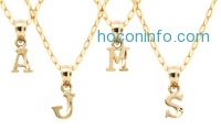 ihocon: *Limited Time Only* 10K Solid Gold Diamond-Cut Initial Pendant with Chain