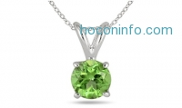 ihocon: Genuine Peridot Solitaire Pendant in Sterling Silver