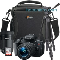 ihocon: Canon EOS Rebel T5i 18MP DSLR Camera w/ 18-55mm + 55-250mm Lens + Tripod, Bag and 16GB Memory Card