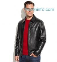 ihocon: Izod 男士真皮夾克 Leather Bomber Jacket