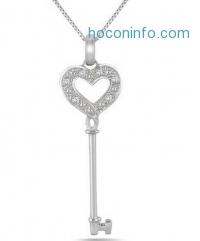 ihocon: Diamond Key Pendant in .925 Sterling Silver