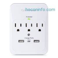 ihocon: CyberPower CSP300WUR1 Surge Protector 3-AC Outlet with 2 USB (2.1A) Charging Ports