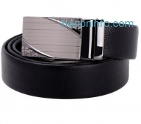 ihocon: Vbiger Men's Leather Ratchet Belt with Automatic Alloy Buckle