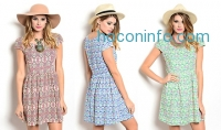 ihocon: Fit And Flare Summer Print Dresses