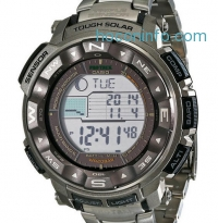 ihocon: Casio 太陽能自動對時登山運動男表 Men's Pro Trek Tough Solar Digital Sport Watch PRW-2500T-7CR