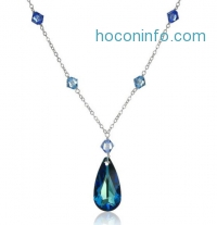 ihocon: Bermuda Blue Swarovski Element on Sterling Silver Chain with Element Accents Pendant Necklace, 18