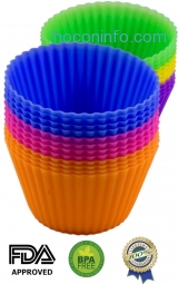 ihocon: Silicone Baking Cups - 24 Pack Muffin Cups