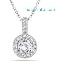 ihocon: 1/2 Carat Halo Diamond Pendant in 10K White Gold