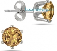 ihocon: 6MM Round All-Natural Genuine Citrine Earrings in Rhodium Plated Brass