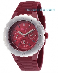 ihocon: PUMA PU103442003 Women's Blast Burgundy Resin and Dial Watch