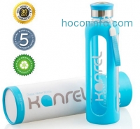 ihocon: Kanrel Glass Water Bottle BPA Free & Eco Friendly with Blue Silicone Sleeve