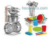 ihocon: Melissa & Doug Let's Play House! Kitchen Bundle - Pots & Pans, Stir & Serve Utensils, and Wash & Dry Dish Sets