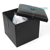 ihocon: Homfa Faux Leather Storage Ottoman, 15L, Black 儲物椅凳