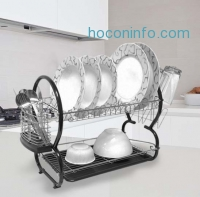 ihocon: Home Collections 2 Tier Chrome Plated Steel Dish Drainer in 3 Colors - 17 Dish Capacity