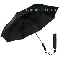 ihocon: OXA Unbreakable Windproof Travel Umbrella, Large Auto Open / Close Umbrella One Handed Operation, Black