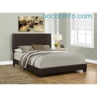 ihocon: Monarch Bed with Leather Look Fabric, Queen, Dark Brown