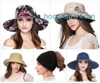 ihocon: Women's Foldable Wide Brim Sun Hat Summer Outdoor Floppy Beach Cap