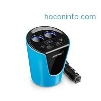 ihocon: BESTEK 2-Socket Cigarette Lighter Power Adapter USB Car Cup Charger汽車充電器