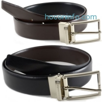 ihocon: Alpine Swiss Mens Dress Belts Reversible Black Brown Leather Imported from Spain