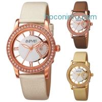 ihocon: Women's August Steiner AS8176 Swarovski Crystal Leather Watch