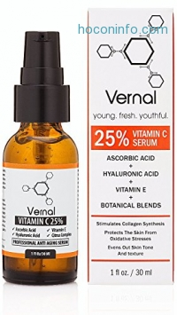ihocon: Vernal Anti Aging Serum - A High Grade 25% Pure Organic Vitamin C For Face with Hyaluronic Acid. Potent Anti-Aging, Anti-Wrinkle Treatment, Skin Tightening, Dark Spot Removal and Collagen Stimulation.