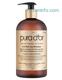 ihocon: PURA D'OR Anti-Hair Loss Shampoo (Gold Label), Effective Solution for Hair Thinning & Breakage, NEW & IMPROVED BEST FORMULA YET w/ Aloe & Red Korean Seaweed, 16 Fluid Ounce (Packaging May Vary)