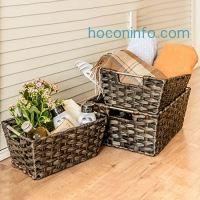 ihocon: MaidMAX Rectangular Rattan Storage Baskets, Set of 3 籐籃