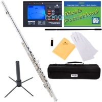 ihocon: Mendini MFE-S Silver Plated Closed Hole C Flute + Case, Tuner, Stand, Cleaning Rod & Cloth, Grease, & Gloves