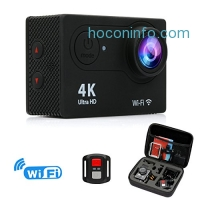 ihocon: FITFORT Action Camera 4K WiFi Ultra HD Waterproof Sport Camera with 2 Rechargeable 1050mAh Batteries, Free Travel Bag + 19 Accessories Kits 防水運動相機含配件及充電電池