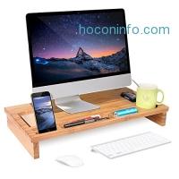 ihocon: HOMFA Bamboo Monitor Stand Riser with Storage Organizer竹製螢幕架高桌,含小物置放格
