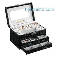 ihocon: LANGRIA Crocodile Grain Faux Leather Jewelry Box 外出便攜三層首飾/化妝品收納盒