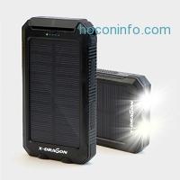 ihocon: X-DRAGON Solar Charger 10000mAh太陽能行動電源 Power Bank with Compass Hook Flashlight